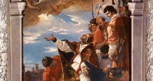 S. Gregorio Magno invoca la Vergine per la cessazione della peste, 1700, Santa Giustina, Padova.